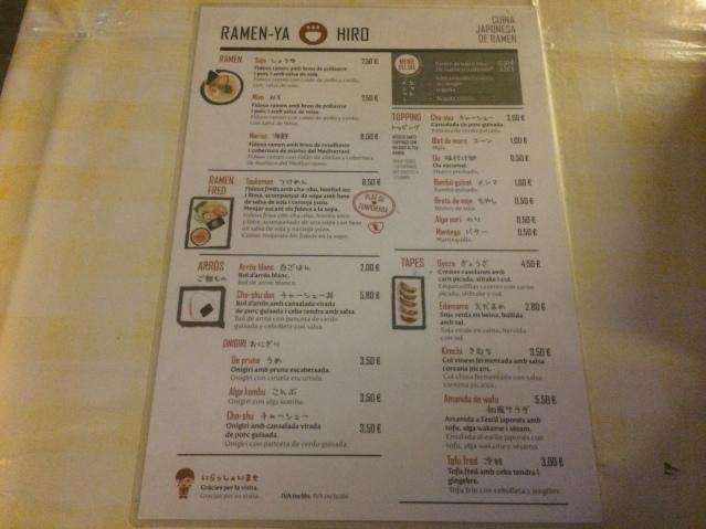 carta del Restaurante Ramen-Ya Hiro