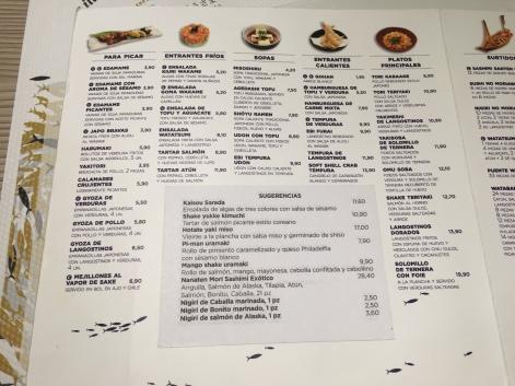 carta y menu del restaurante watatsumi