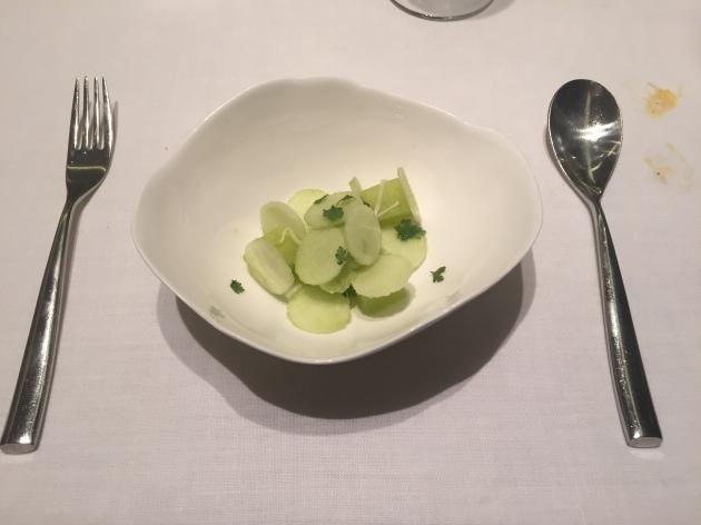 restaurante abac Manzanas con Apio, Perifollo y Raifort