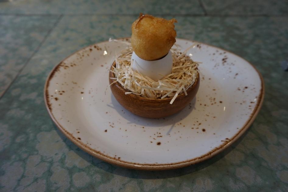 disfrutar restaurante yema de huevo en tempura