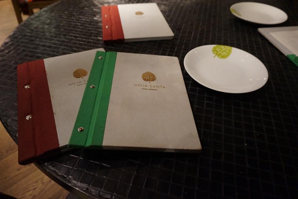carta del restaurante hoja santa