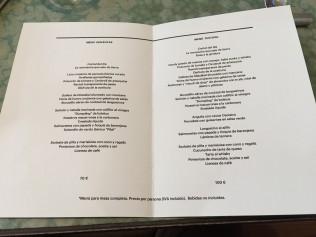 Menu y Carta del restaurante disfrutar