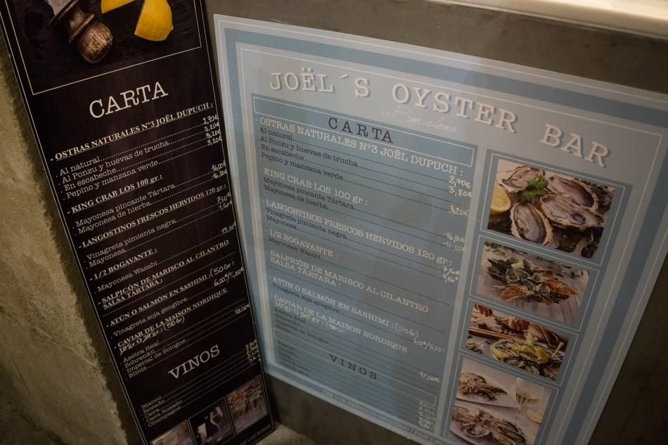 carta y platos de Joël's Oyster Bar