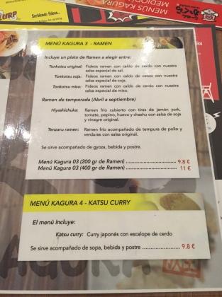 platos del restaurante kagura ramen