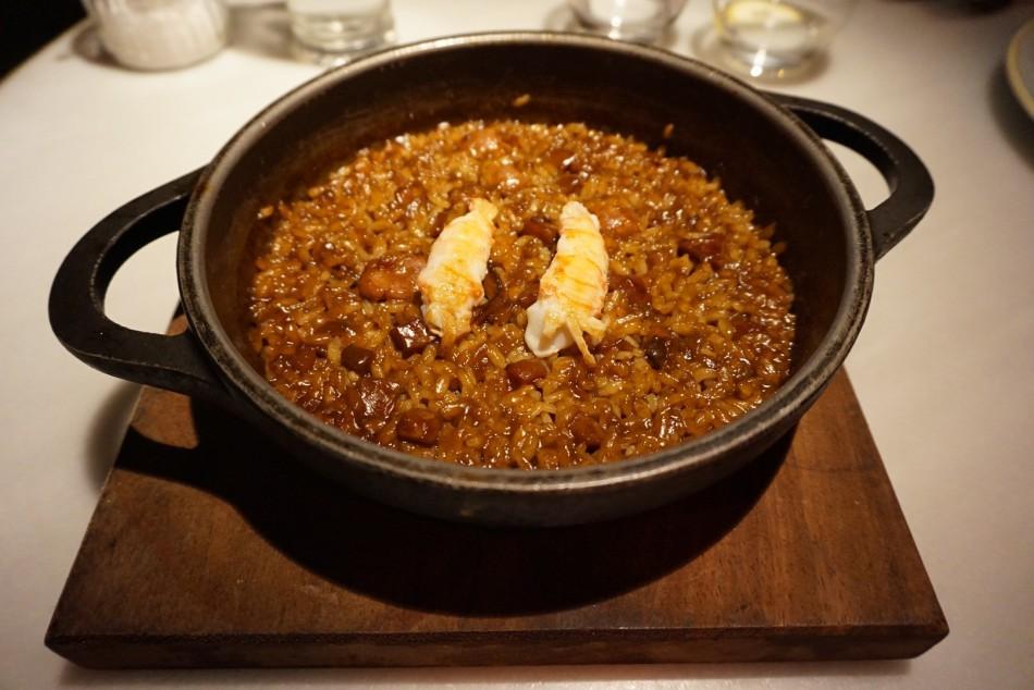 arroz con sepia salchichas y cigalitas L'EGGS Restaurant del Chef Paco Pérez