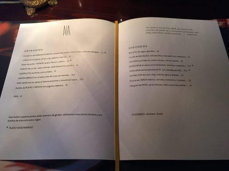 carta menu y platos restaurante pla