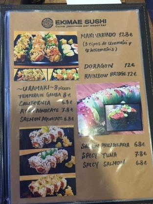 ekimae sushi carta y platos