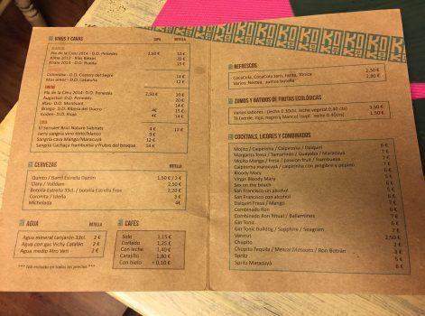 carta platos menu koko restaurante barcelona