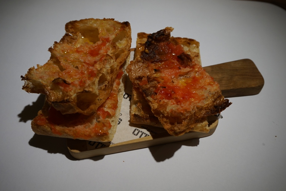 Solomillo Restaurante Pan de cristal con tomate