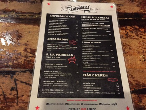carta y platos la republica barcelona