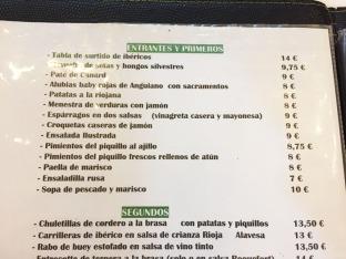 menu biazteri laguardia